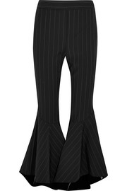 Sinuous pinstriped crepe flared pants