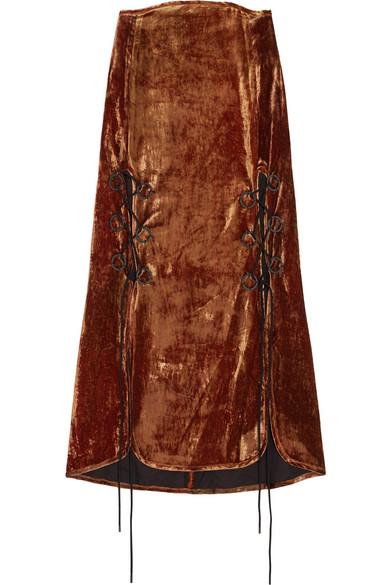 The Blues lace-up crushed-velvet midi skirt