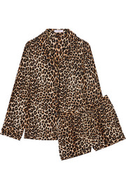 Lillian leopard-print washed-silk pajama set