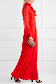 Lanvin Appliquéd silk-mousseline gown