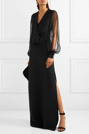 Lanvin Draped crepe, silk-chiffon and satin gown