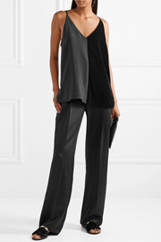 Lanvin Paneled hammered-satin wide-leg pants