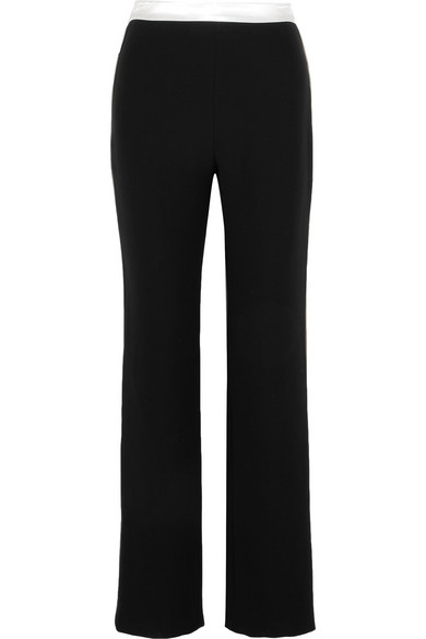 Lanvin - Hammered Satin-paneled Cady Straight-leg Pants - Black at NET-A-PORTER