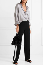 Lanvin Hammered satin-paneled cady straight-leg pants