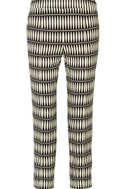 Lanvin Cropped printed crepe straight-leg pants