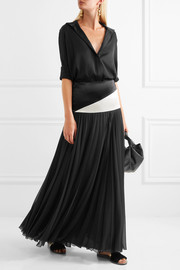 Lanvin Two-tone mousseline and pleated chiffon maxi skirt