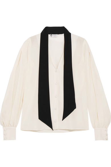 Lanvin - Pussy-bow Two-tone Silk Crepe De Chine Blouse - Ivory