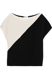 Lanvin Two-tone silk crepe de chine top