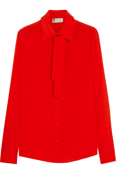 Lanvin - Pussy-bow Silk Crepe De Chine Shirt - Red