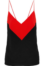 Two-tone silk crepe de chine camisole