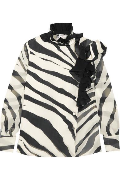 Lanvin - Ruffled Zebra-print Silk-chiffon Blouse - Ivory at NET-A-PORTER
