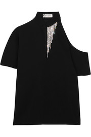 Lanvin Crystal-embellished cutout crepe top