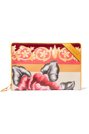 Arena printed textured-leather pouch