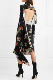 Open-back floral-print stretch-jersey dress