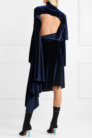 Asymmetric open-back velvet midi dress