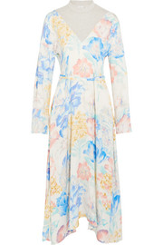 Floral-print satin and cotton-blend jersey midi dress