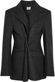 Pinstriped wool-felt blazer