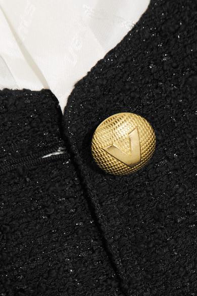Vetements Mehrlagige Jacke aus glänzendem Jacquard und Bouclé-Tweed in Metallic-Optik