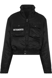 Vetements Reversible embroidered shell and wool-blend bomber jacket