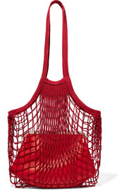 Vetements Granny cotton-mesh and leather shoulder bag