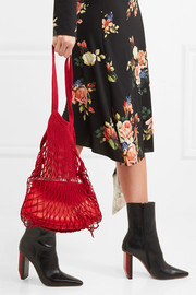 Granny cotton-mesh and leather shoulder bag
