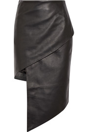 Spiral leather mini skirt
