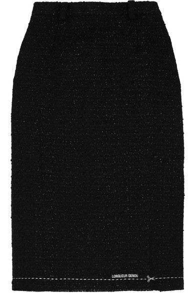 Vetements - Embroidered Metallic Bouclé-tweed Skirt - Black
