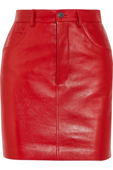 Vetements - Leather Mini Skirt - Red