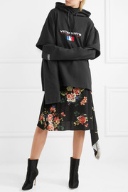 Layered embroidered cotton-blend jersey hooded top