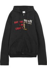 Vetements Oversized printed cotton-blend jersey hooded top