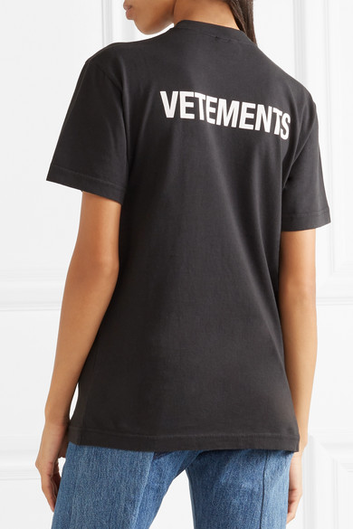 Vetements entry level cotton jersey t shirt in llack priet for Vetements basic staff t shirt