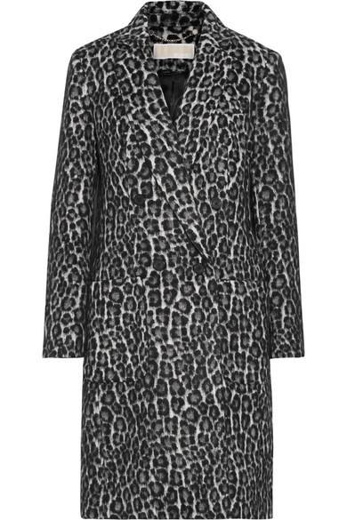 MICHAEL Michael Kors - Double-breasted Leopard-print Bouclé Coat - Black