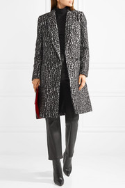 Double-breasted leopard-print bouclé coat
