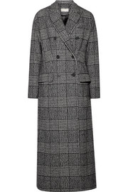 Double-breasted checked wool-blend coat