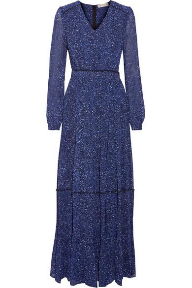 Pintucked Printed Chiffon Maxi Dress - Blue Michael Kors wq5YD