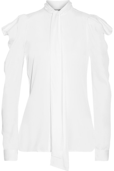 MICHAEL Michael Kors - Pussy-bow Ruffled Stretch-silk Blouse - White