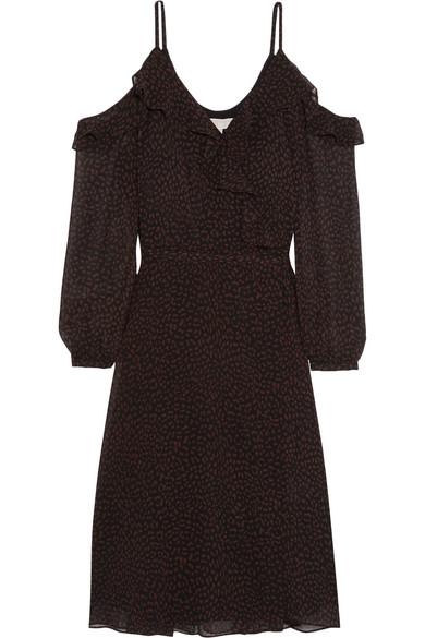 MICHAEL Michael Kors - Cold-shoulder Printed Chiffon Wrap Dress - Brown