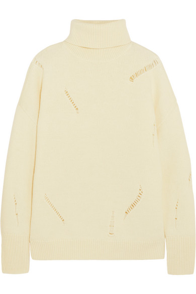 acd683aa4da2d Michael Michael Kors Distressed Wool And Alpaca-Blend Turtleneck Sweater In  Cream