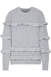 Ruffle-trimmed knitted sweater