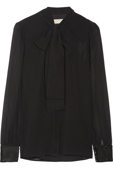 MICHAEL Michael Kors - Pussy-bow Sequin-embellished Georgette Blouse - Black