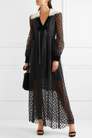 Velvet-trimmed lace maxi dress