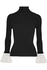 Philosophy di Lorenzo Serafini Velvet and lace-trimmed ribbed-knit turtleneck sweater