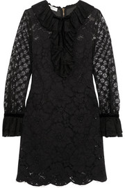 Velvet-trimmed ruffled corded lace mini dress
