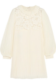 Lace-paneled pleated chiffon mini dress
