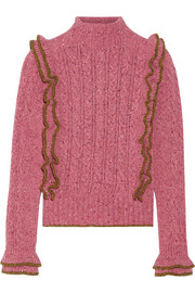Ruffled cable-knit wool-blend sweater