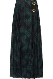 Leather-trimmed pleated lace wrap maxi skirt