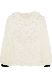 Cotton-blend corded lace and plissé-chiffon blouse