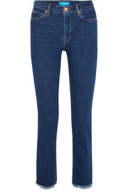 Daily frayed mid-rise straight-leg jeans