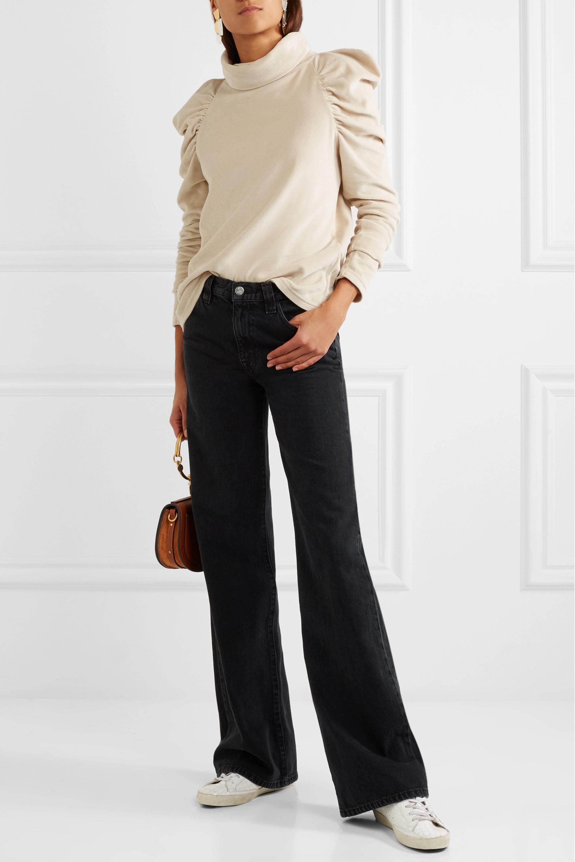 M.i.h Jeans + Bay Garnett Spider ruched cotton-blend velour turtleneck top