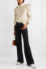 + Bay Garnett Spider ruched cotton-blend velour turtleneck top